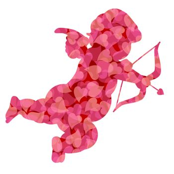 Cute Valentines Day Cupid Silhouette with Pink Pattern Hearts Illustration Isolated on White Background