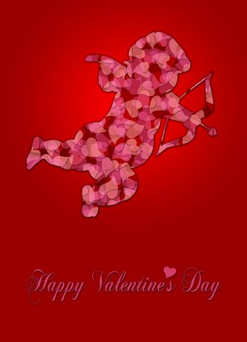 Cute Valentines Day Cupid Silhouette with Pink Pattern Hearts Illustration on Red Background