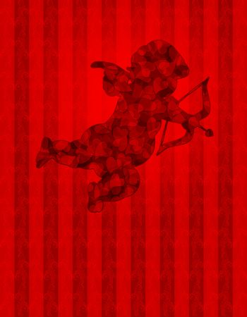 Valentines Day Cupid with Pattern Hearts on Red Wallpaper Background Illustration