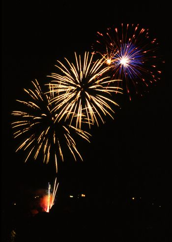 Fireworks over an historical town in France - Wissembourg - Alsace