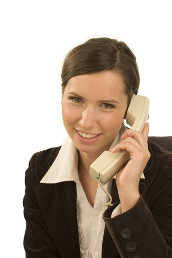 Pretty saleswoman with telephone