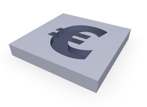 euro sign in a block - 3d illustration