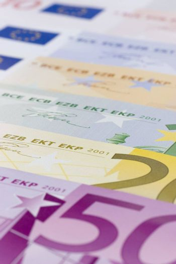 Euro banknotes with shallow depth of field