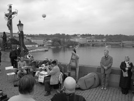 Musicans playing on Charles Bridge in Prague