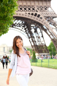 Paris woman by Eiffel Tower