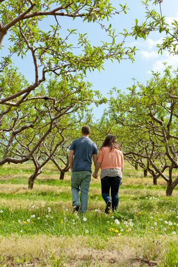 Young happy couple enjoying each others company outdoors through a country apple orchard.