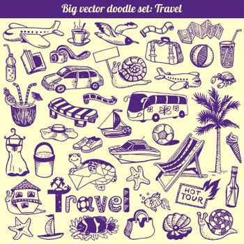 Travel Doodles Collection Vector Set
