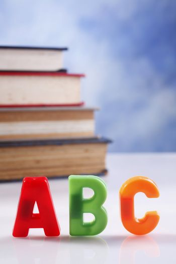 stock image of the abc and books
