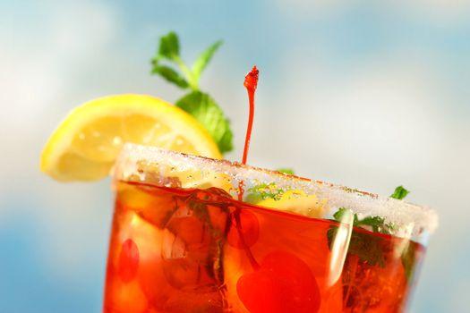Closeup of tropical drink