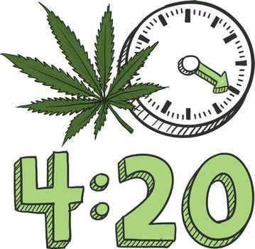4:20 marijuana sketch