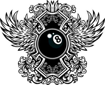 Billiards Eightball Ornate Graphic Vector Template