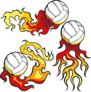 Volleyballs with Flames Vector Images
