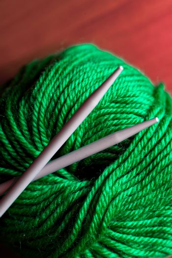 thread and knitting needle