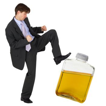 Man kicks a bottle of gasoline