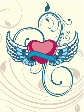 Heart shape having floral decorative wings on seamless floral ba