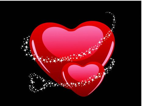 Vector illustration of two heart shape with shiney stars on grey heart shape background for Valentine Day.