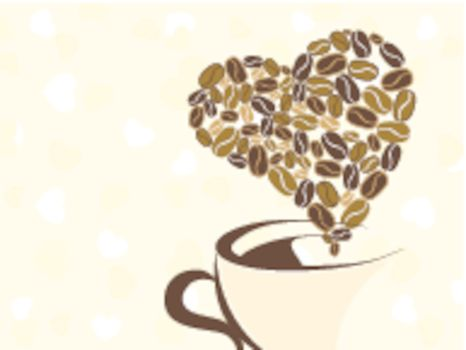 Coffee for your loved one and place for text on brown background, Greeting card for Valentine Day.