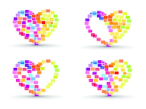 A set of abstract colorful heart shapes made with elements on isolated background for Valentines Day.