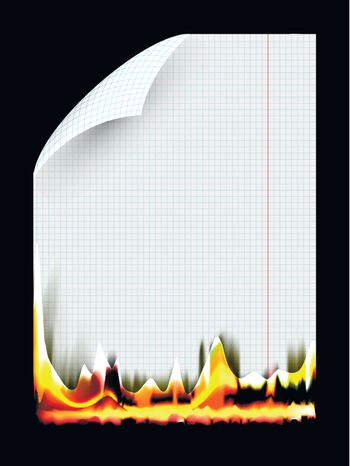 abstract illustration of burning a piece of paper