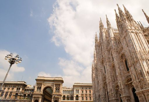 View of the Milan cathedral and Vittorio Emanuele II gallery, Italy