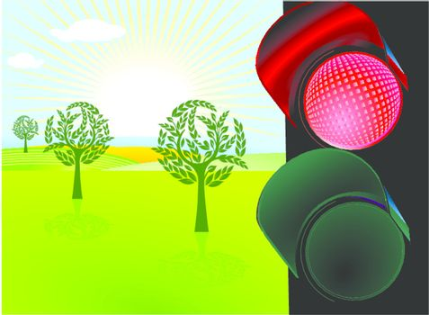 nature conservation and red traffic light
