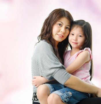 Asian parent and child.