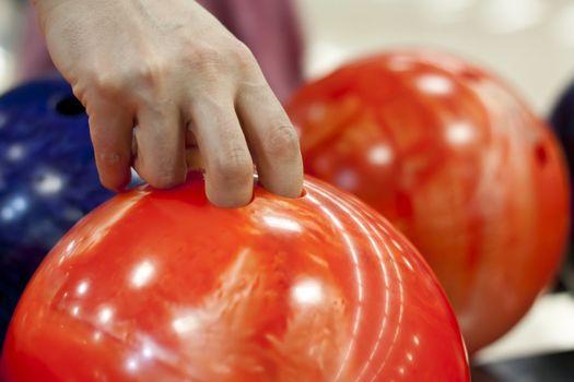 Closeup photo of bowling balls. Shallow focus.