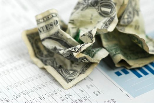 Crumpled US dollars on financial chart report