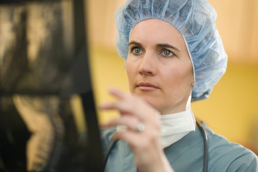 Serious woman doctor analyzing X-rays