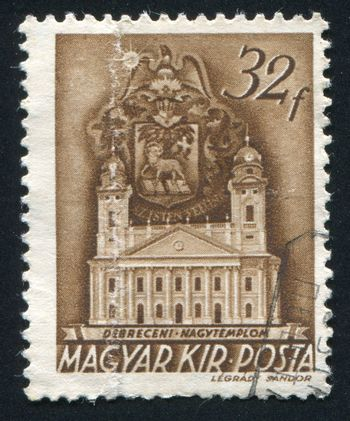 HUNGARY - CIRCA 1938: stamp printed by Hungary, shows Reformed Church, Esztergom, Debrecen, circa 1938
