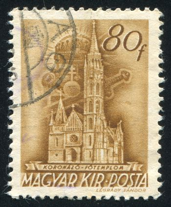 HUNGARY - CIRCA 1939: stamp printed by Hungary, shows Coronation Church, Budapest, circa 1939