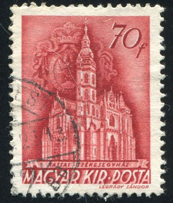 HUNGARY - CIRCA 1939: stamp printed by Hungary, shows Cathedral of Kassa, circa 1939