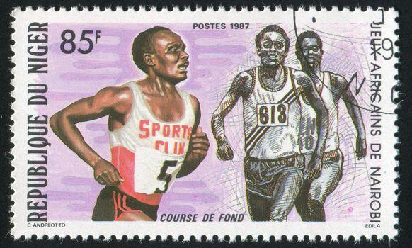 NIGER - CIRCA 1987: stamp printed by Niger, shows runner, circa 1987.