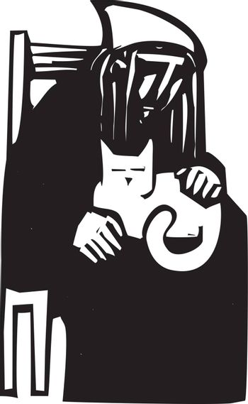 Woodcut style image with an old woman holding a cat in her lap