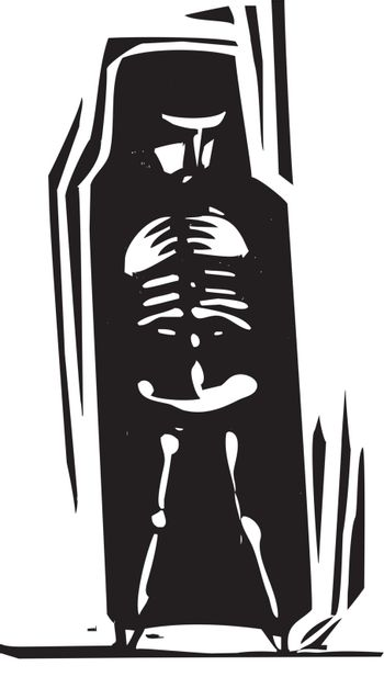 Woodcut style person with her skeleton visible