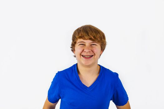 happy boy laughing , isolated on the white background