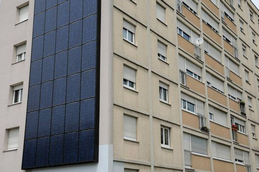 photovoltaic panels on a wall of a building