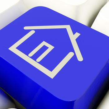 House Symbol Computer Key In Blue Showing Real Estate Or Rental