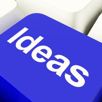 Ideas Computer Key In Blue Showing Concept Or Creativity