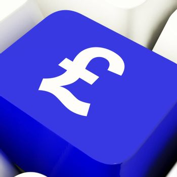 Pound Symbol Computer Key In Blue Showing Money And Investments