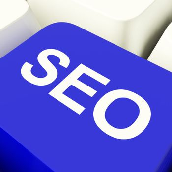 SEO Computer Key In Blue Showing Internet Marketing And Optimisation