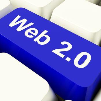 Web2 Computer Key In Blue Showing Social Medias