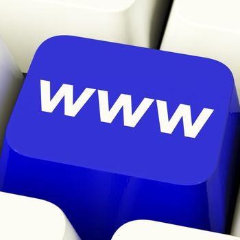 Www Computer Key In Blue Showing Online Website Or Internet