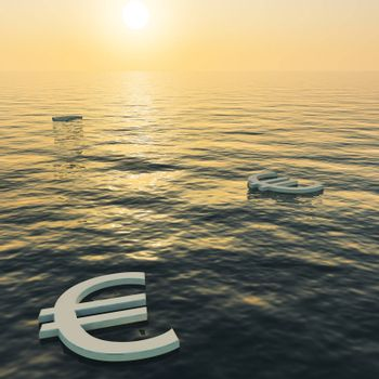 Euros Floating To A Sunset Showing Money Wealth Or Earning