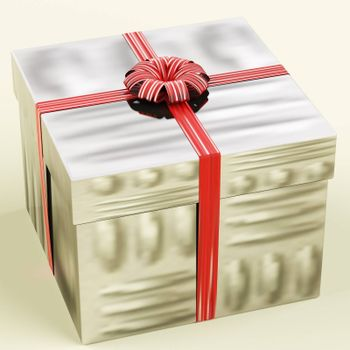 Silver Gift Box As Birthday Present For Women
