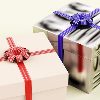 Two Gift Boxes With Blue And Red Ribbons As Present For Him And Her