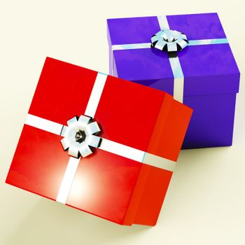 Red And Blue Gift Boxes  As Present For Him And Her