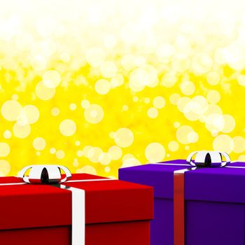 Red And Blue Gift Boxes With Yellow Bokeh Background As Present For Him And Her