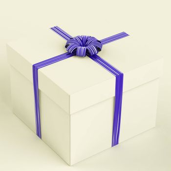 White Gift Box With Blue Ribbon As Birthday Present For Men