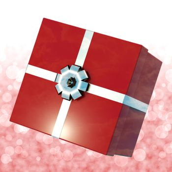 Red Giftbox With Bokeh Background For Girls Birthdays